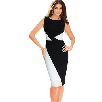 Fashion Summer Black White Patchwork Brief Women Dress Workwear Sleeveless O Neck Women Slim Fit Party Pencil Dresses