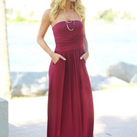 Burgundy Strapless Maxi Dress with Pockets