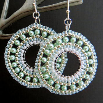 Mint Hoop Earrings. Silver and Mint Seed Bead Hoops. Pearl Beadwork. Statement Beadwoven Seed Bead and Pearl Hoops.