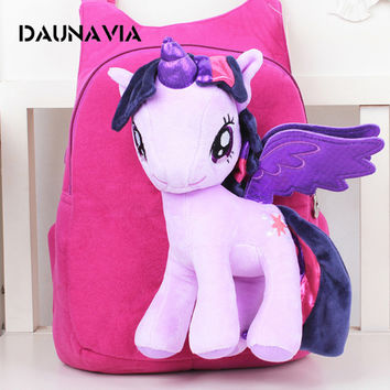 Anime Backpack Cartoon Lovely Little Horse Kindergarten School Bags 3D Poni Unicorn Doll Plush Backpack Toys for Children Gift