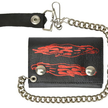 Biker Chain Trifold Wallet Long Flames Genuine Leather 946-47 (C)