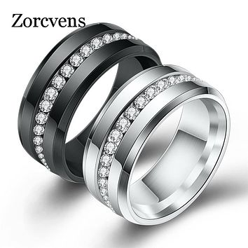 ZORCVENS Black and Silver Color Titanium Stainless Steel Rings For