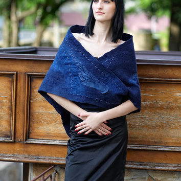 Elegant dark blue felted shawl wrap capelet Triangles by ProninA