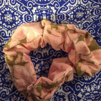 Double Sided Pink Floral Scrunchie