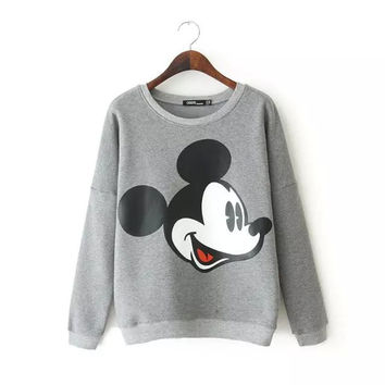 Winter Stylish Cartoons Silver Long Sleeve Pullover Hoodies Tops Bottoming Shirt [6045447105]