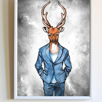 Hipster Stag Head Print Deer in a Suit Animal Poster Men's Bedroom Wall Art Decor