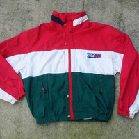 Vintage Tommy Hilfiger Colour Block USA Big Logo Sailing Gear Jacket Spell Out Very Rare