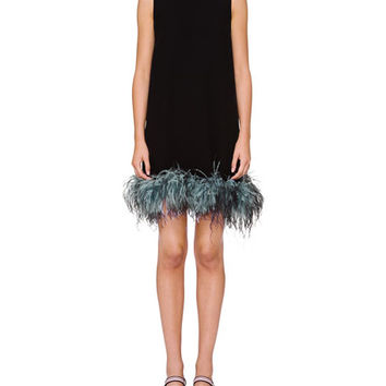 Prada Sleeveless Feather-Hem Crewneck Dress