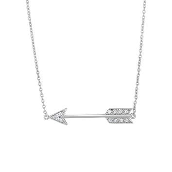 Silver Rhodium Finish 6-1.2mm Shiny White Cubi c Zirconia Sideways Arrow Element Anchor On 1.2mm Cable Link Fancy Necklace with Lobster Clasp
