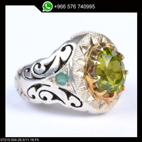 Sterling Silver Aquamarine Men Ring Persian Antique Design Genuine Gemstone Size 11 (Re-sizing is available for free)