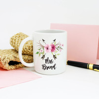 Mrs. Mug, Gift for Bride, Coffee Mug, Floral Arrows, Watercolor flowers, Cup with Married Name, Printed Mug