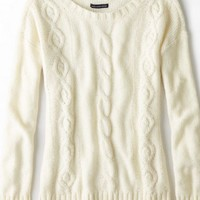 AEO Women's Cable Beaded Sweater (Frozen Ivory)
