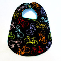 Baby Bib - Modern Baby Bib - Hipster Baby Bib - Multicolored Bicycles - Aqua Bubble Dot Minky Fabric - Handmade Baby Gift