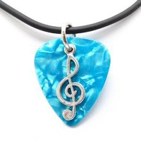 Guitar Pick Necklace with Music Clef Note Charm on Blue Guitar Pick Unique Design By Atlantic Seaboard Trading Co.