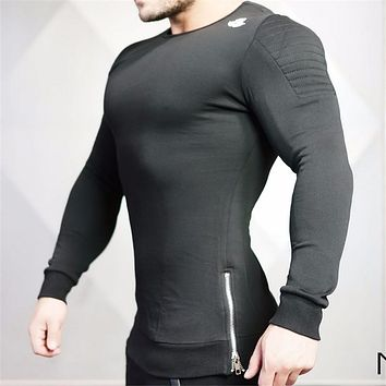 2017 Year The Body Engineers Bodybuilding Fitness Round Neck long Sleeve T-shirt Leisure t shirt men Side Zip Tshirt