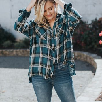 Plaid Button Up, Teal Mix
