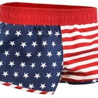 American Flag Women's Printed Shorts (Small)