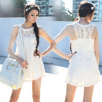 Lace Chiffon Sleeveless Dress O-Neck Dress