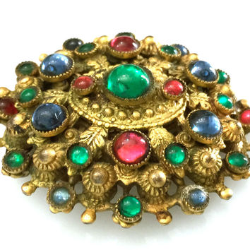 Jewel Tone Dress Clip, Etruscan Style Metal Work, Multi-Color Glass Cabochons, Layered Clip, Domed Design, 1930s