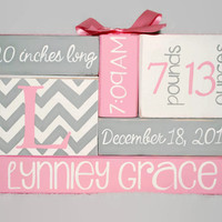 Chevron Monogram Pink Gray Mod Nursery Baby Birth Stat, baby name blocks, new baby gift, new mom gift, wife gift, birth announcement sign