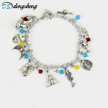 dongsheng Movie HP Charm Bracelet Hogwarts Horcrux Deathly Hallows Ravenclaw's Diadem Hufflepuff's Goblet Sorting -25