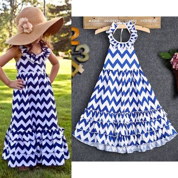 3-10Y Kids Girls Wave Stripe Boho Maxi Long Sundress Party Dress Flouncing Skirt