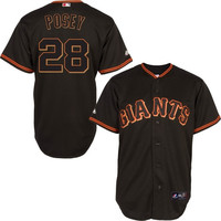 Buster Posey San Francisco Giants Majestic Official Cool Base Authentic Collection Player Jersey – Black