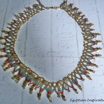 Egyptian collar. Cleopatra  necklace. Egyptian jewelry.