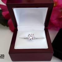 3 Carat Round, 4 Prong Solitaire Engagement Ring, Promise Ring, Flawless Diamond Simulant, Wedding Ring, Bridal, Sterling Silver, Birthstone