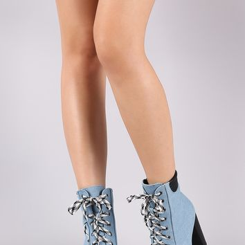 Qupid Denim Peep Toe Lace Up Chunky Heeled Booties