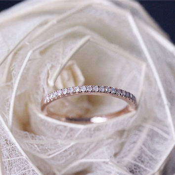 Pave Diamond Wedding Band Solid 14K Rose Gold Diamond Engagement Band Half Eternity Promise Band Stackable Matching Band