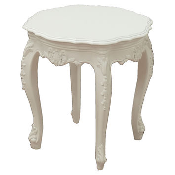 Tuileries Outdoor Side Table, White, Outdoor Side Tables