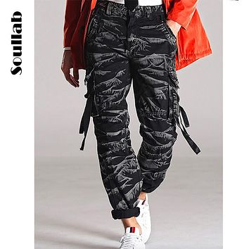 SOULLAB over size men bottoms baggy army camo camouflage pants streamer bandage guys loose sweat sweatpants cargo trousers boy