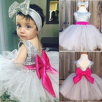 Kids Girls Dress Sequins Ball Gown Headband Tulle Bridesmaid Wedding Birthday Party Pageant Girl Clothes Dresses