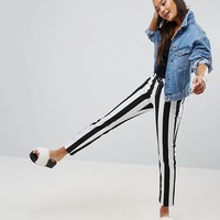 ASOS CASTILE Pencil Straight Leg Jeans in Mono Stripe at asos.com