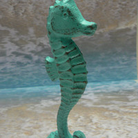 Seahorse Cast Iron Statue Figurine Stand Nautical Sea Horse Painted Aqua Called Dip in the Pool Shabby Chic Distressed Beach Weathered Look