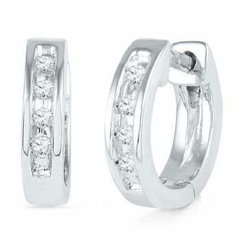 10kt White Gold Women's Round Diamond Single Row Huggie Earrings 1-20 Cttw - FREE Shipping (USA/CAN)