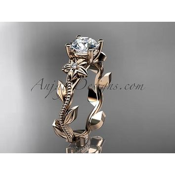 Unique 14kt rose gold diamond flower, leaf and vine wedding ring, engagement ring ADLR238