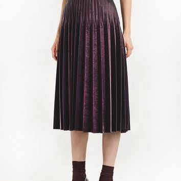 Burgundy Metallic Pleated Skirt