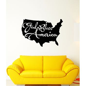 Vinyl Wall Decal Map of America Patriotic Quote God Bless America Stickers (3411ig)