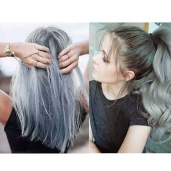 100ML Fashion Permanent Punk Hair Dye Light Gray Silver Color Cream