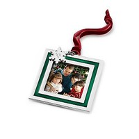 Personalized Green Stripe Photo Frame Ornament , Add Your Message