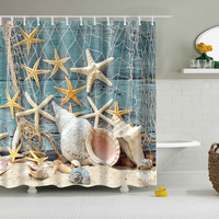 2 Sizes Fishing Net Sea Star Printing Bath Shower Curtain Bathroom Decor