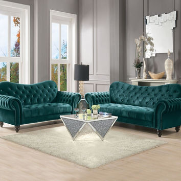 Acme 53400-02 2 pc Iberis green velvet fabric nail head trim sofa and love seat set