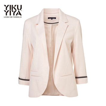 YIKUYIYA New Fashion Autumn Blazers 2016 Women Clothes Slim Three Quarter Sleeve Casual Business Career OL Candy Color Lady Suit