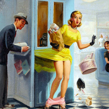 Pin-Up Girl Wall Decal Poster Sticker - Number Please, 1957 - Blonde Pinup Pin Up
