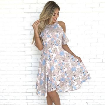 Unforgettable Floral Cold Shoulder Halter Dress