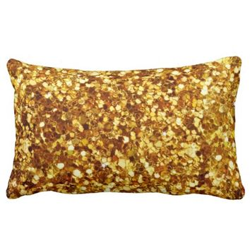 The Look of Diamond Bling Gold Sparkles Pillow