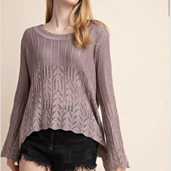 Mittoshop Textured Scoop Bottom Bell Sleeve Sweater
