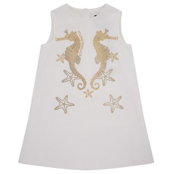 Versace Girls White Seahorse Dress (Mini-Me)